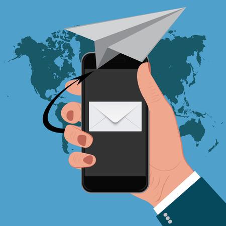 cellphone in hand: email marketing, hand holding cellphone, vector illustration Illustration