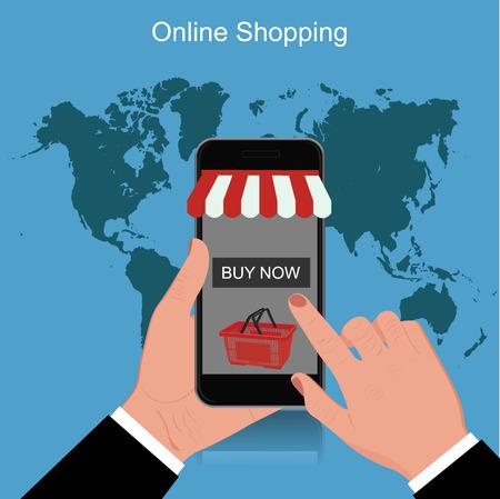 cellphone: online shopping, cellphone, vector illustration