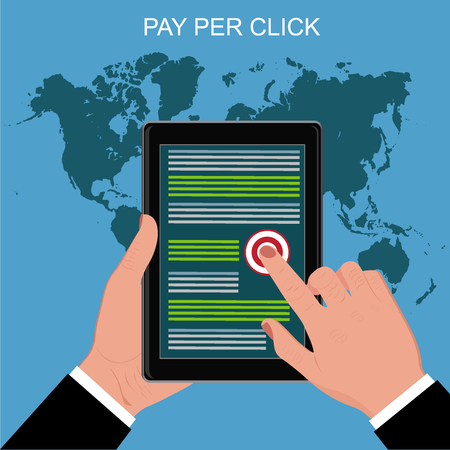 pay per click, hands holding tablet,  vector illustration