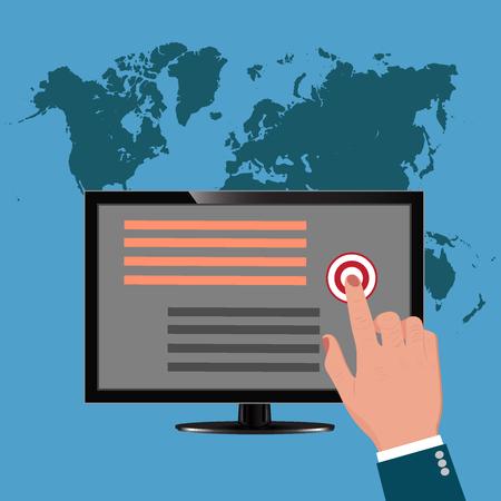 pay per click, monitor, vector illustration