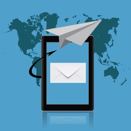 tablet vector: email marketing, tablet, vector illustration