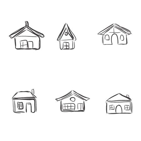 building sketch: building icons, sketch, vector illustration