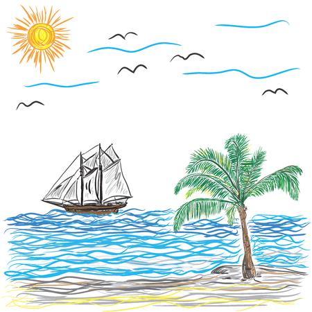 Beach with Palm Tree Illustration