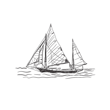 old ship isolated on white background, sketch, vector illustration Illustration