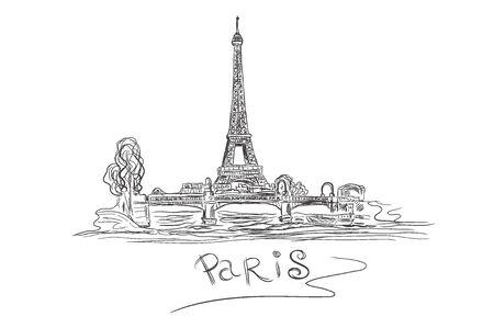 Eiffel Tower, Paris, France, sketch, vector illustration Иллюстрация