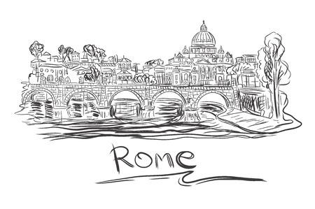 Vatican in Rome, sketch, vector illustration