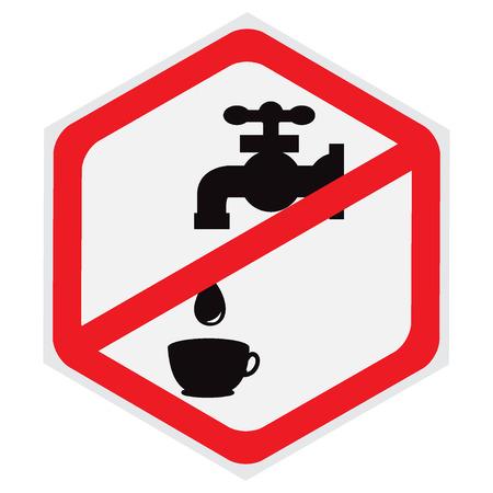 Ne pas, boire, eau, signe, hexagone Banque d'images - 56563647