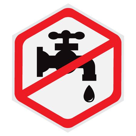 Nein, Wasser, Wasserhahn, Zeichen, Sechseck Standard-Bild - 56563648