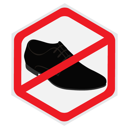 illegality: No, shoes, sign Illustration