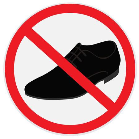 prohibitive: No, shoes, sign Illustration