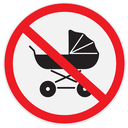 kiddy: No, baby, carriage, sign Illustration