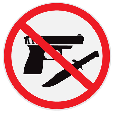 robberies: No weapon allowed, prohibited, sign