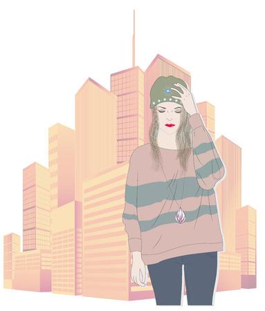 rigorous: Cute, fashion, girl, vector, illustration Illustration