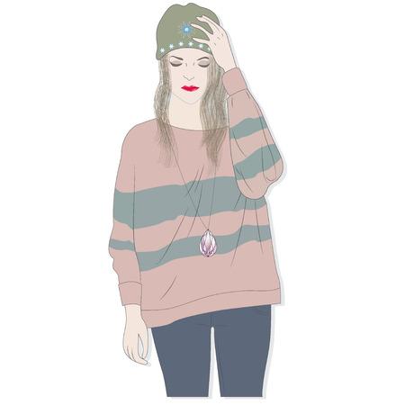 Cute, fashion, girl, vector, illustration Ilustracja