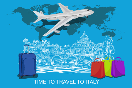 Time to travel to Rome Vatican concept with sketch elements, vector illustration