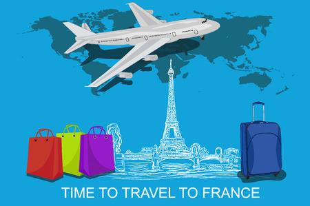monumental: travel to France concept with sketch elements, vector illustration Illustration