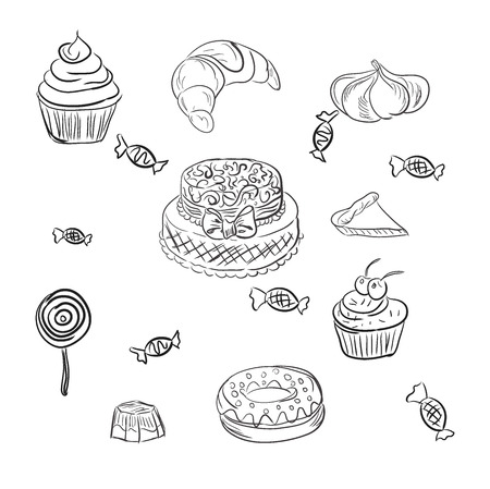 ice tea: cakes and desserts, bakery, sketch, vector illustration