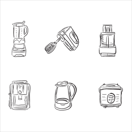 set of kitchen appliances in sketch style, design elements, vector illustration