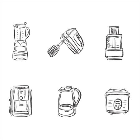 meat chopper: set of kitchen appliances in sketch style, design elements, vector illustration