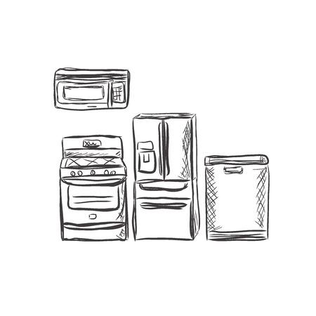 kitchen household appliances, design element, sketch, vector illustration