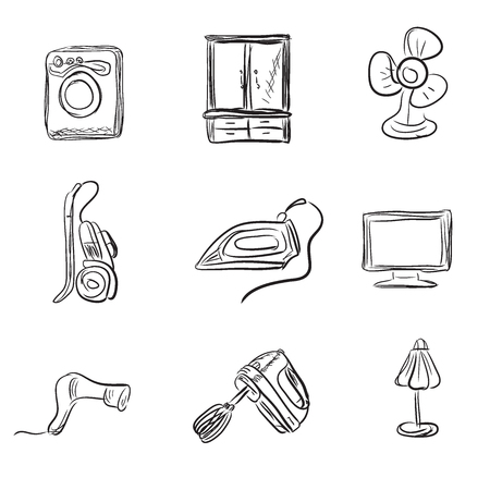 Kitchen appliances, sketch style, vector illustration