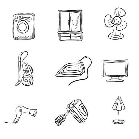 iron fan: Kitchen appliances, sketch style, vector illustration