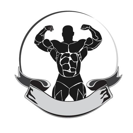 emblem, bodybuilder, icon, vector illustration 向量圖像
