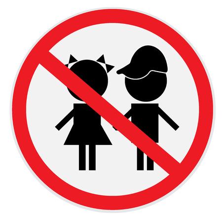 not allowed: Children, not, allowed, sign Illustration