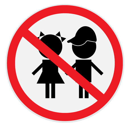 Children, not, allowed, sign Illustration