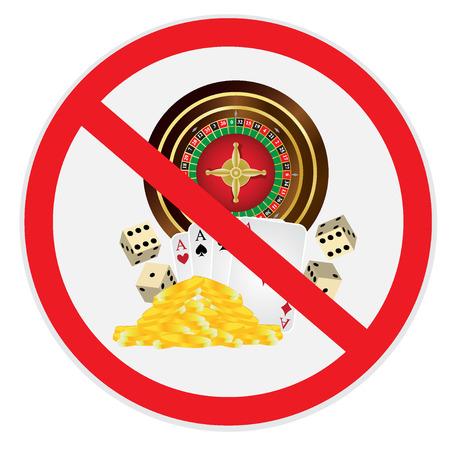 Il gioco d'azzardo, non è, ha permesso, proibito, segno Vettoriali