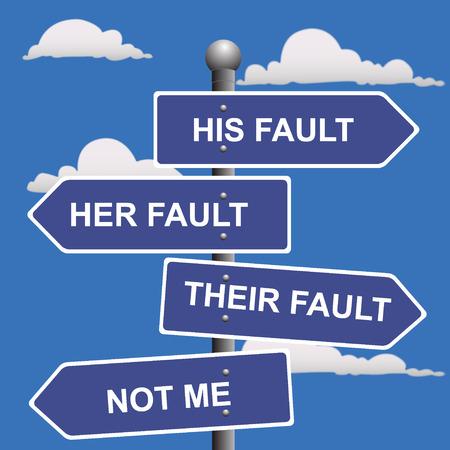 Flecha, señales, no, mi, culpa, cambiando, la culpa Ilustración de vector