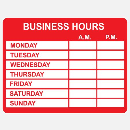 store sign: Business, Hours