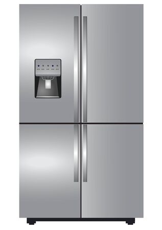 stainless steel: Stainless steel four door refrigerator Illustration