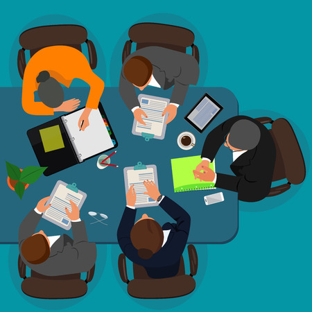 Business meeting, manager discussing work with his colleagues, vector illustration