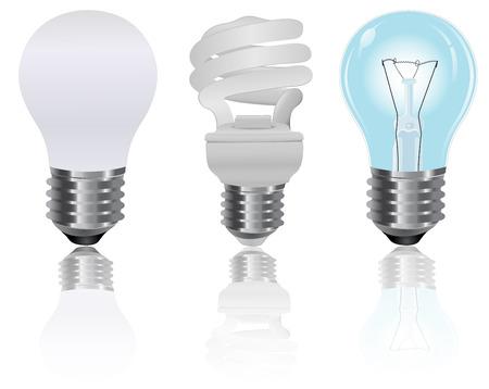 Three, type, light, bulbs