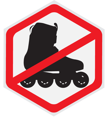 roller skating: No, roller, skating, hexagon, sign