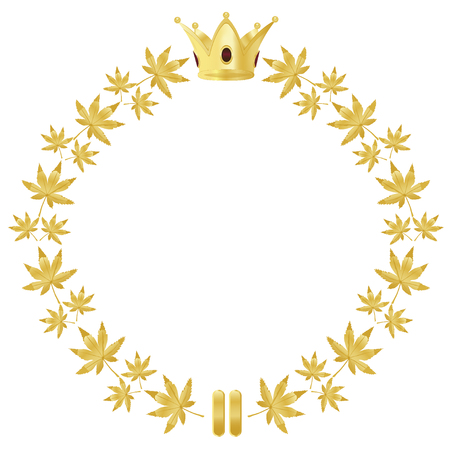 Golden wreath, ribbon and crown