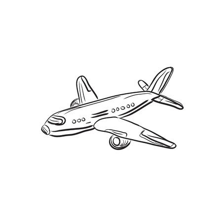 airplane, design element, sketch, vector illustration Ilustração