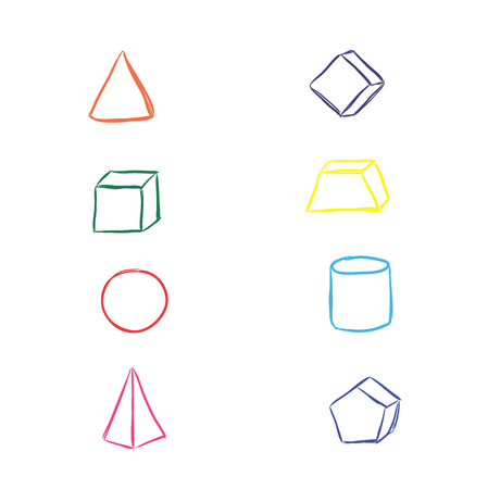 three dimensions: Geometry elements, sketch, vector illustration Illustration