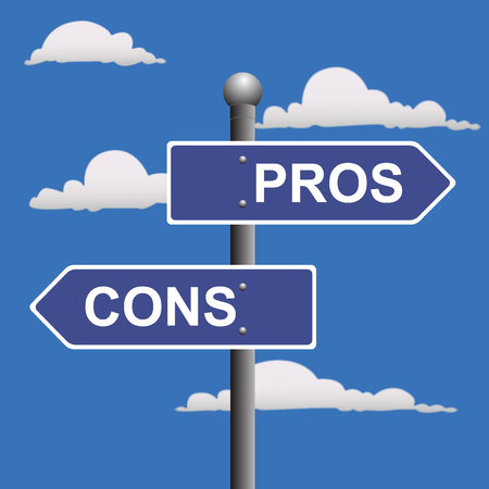 cons: Pros, cons, street, signs, comparing, options Illustration