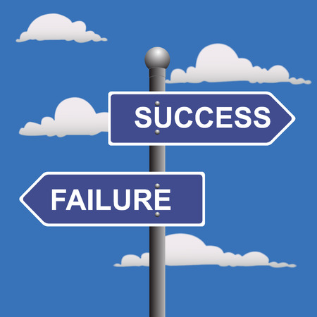 Two-way, street, sign, success, failure, crossroads