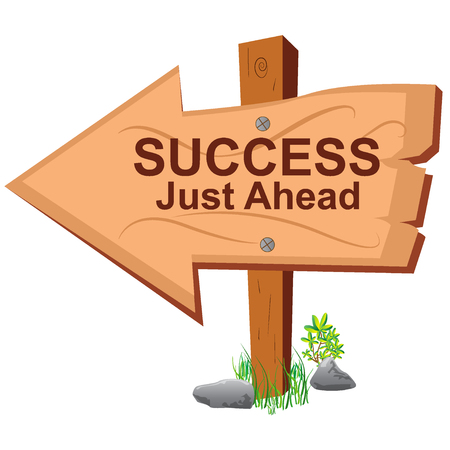 ahead: Success just ahead, wooden sign Illustration