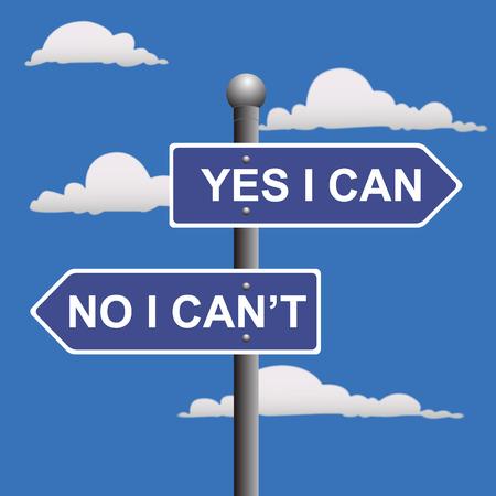 Yes, I, can, two-way, street, sign Ilustração
