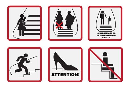 be aware: Escalator, signs, subway