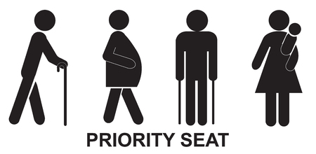 Priority seat, sign, black