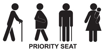 Priorität Sitz, zeichen, schwarz
