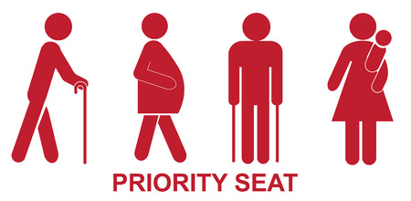 Priority seats, sign, red