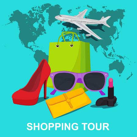 compras compulsivas: tour de compras concepto, ilustraci�n vectorial