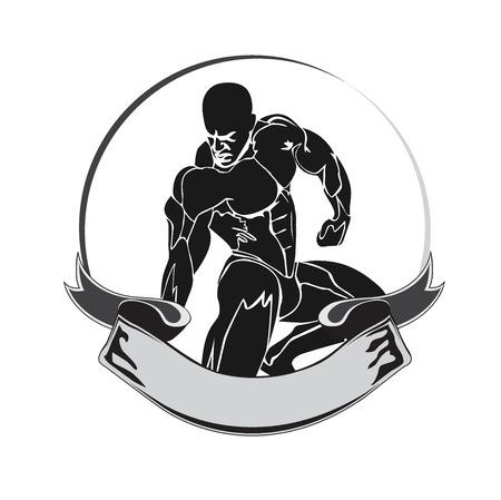 bodybuilding, fitness, icon, emblem, vector illustration