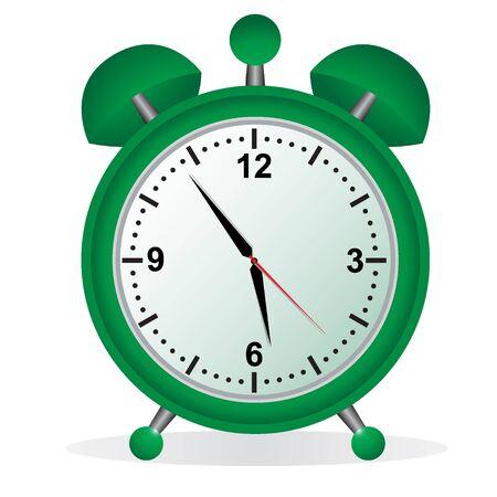 Alarm, klok, groen Stock Illustratie